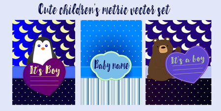 A set of beautiful childrens metrics for printing. Lovely metrics in blue gradient color with penguin and teddy bear. Seamless cartoon pattern. Baby shower vector Illustration