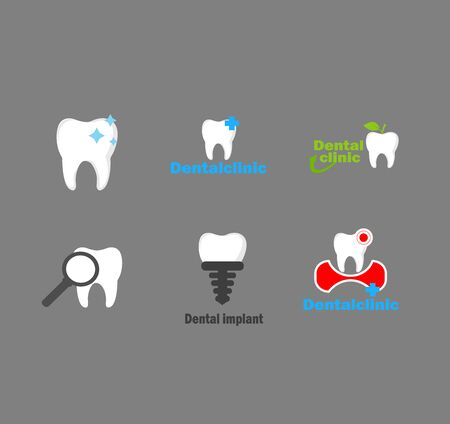 Big set vector of dental logo - care and treatment of teeth. Oral hygiene prophylaxis.