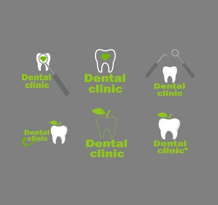 Big vector collection of dental logo - set template - dentistry, dental treatment