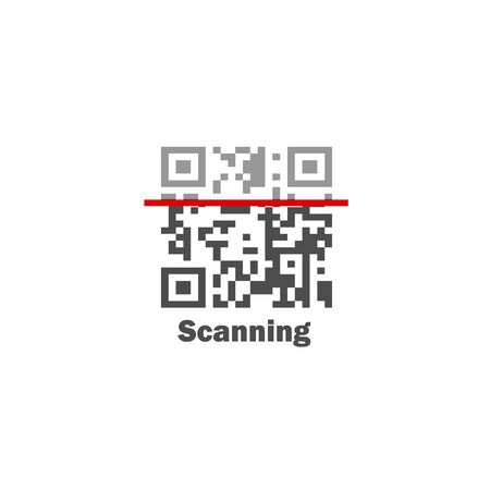 Flat design vector icon Qrcode, scanning verification for online payment.