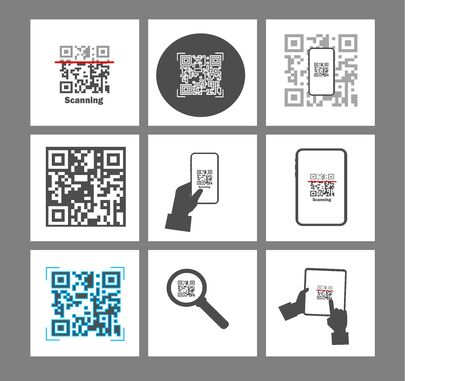 Qr code verification service web banner. Scanning, online shopping.