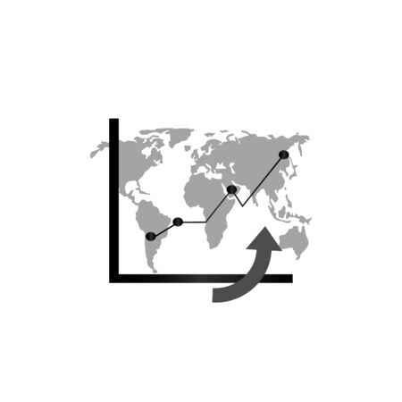 Chart symbol vector. Table infographics. Statistics and analytics. World Map - World Financial, Economic Statistics