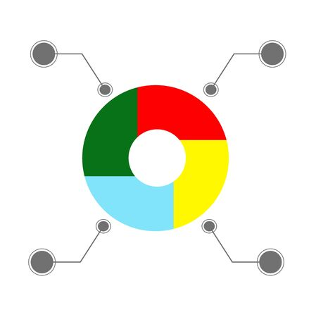 Color pie chart, infographics. Vector template for the study of analytics and statistics of business and finance.  イラスト・ベクター素材