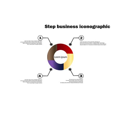 Vector template step by step circular business diagrams. Infographics - business statistics and analytics. Four-part circular gradient chart with description