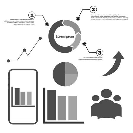 Collection of infographic elements. Business icons for presentation, statistics and analytics. Competitive work. Variety of round charts