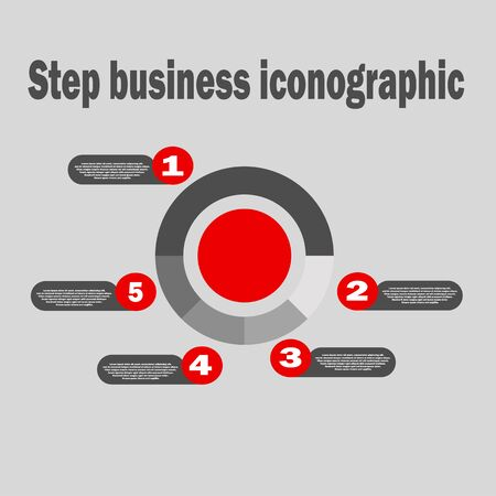Vector pie chart - business icon close-up. Five parts financial chart, infographic with description. Set of infographic elements Ilustrace