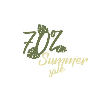 Vector icon - summer big sale 70 tropical leaf monstera. Black Friday - shopping day. Stylish flat for online shopping - business idea