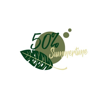 Creative layout - 50 discount in stores - summer sale. Contour silhouette stickers Illustration