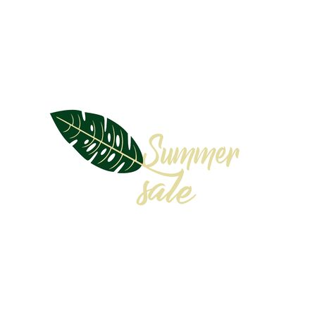 Day online shopping - summer sale. Stylish trendy layout for a store - Tropical Monstera leaf close-up isolated Illustration