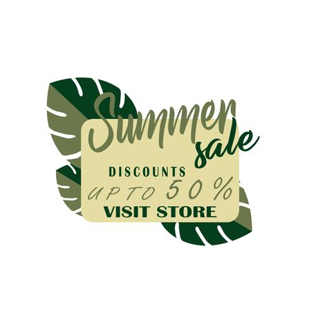 Sale with tropical leaves of Monstera closeup - flat vector icon. Shopping Day - Black Friday
