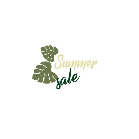 Day online shopping - summer sale. Stylish logo layout for a store - tropical leaves