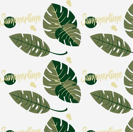 Vector design seamless pattern - tropical leaves. Illustration