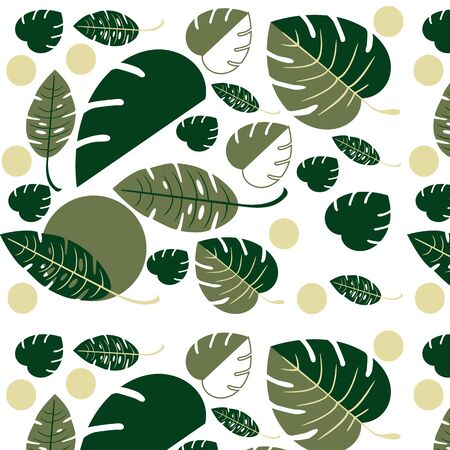 Flat vector design seamless pattern - tropical leaves. Beautiful fern leaves and monsteras - botany style Illustration