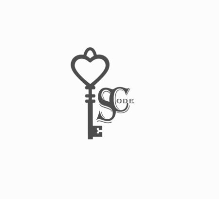 A stylish flat for companies is a vintage key with a creative name for the company. Branding and style of the company. gray vintage key close-up