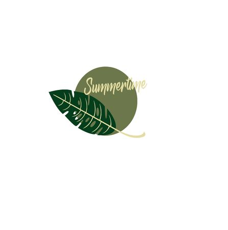 Summer botany style - exotic fern plant. Summer time - vector layout with tropic leaf
