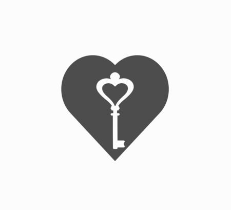 Gray flat vector heart icon and white old, vintage key. The valentine s symbol is isolated.