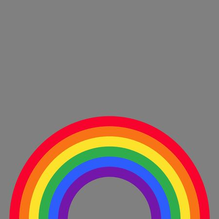 Flat design vector rainbow template on gray background - same-sex relationship symbol