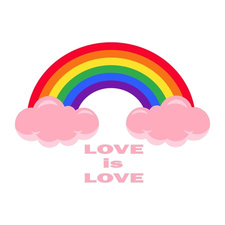 Fairytale Rainbow Vector Illustration - love is love. LGBT world pride day. Equality of sexual minorities in society is a sociological aspect of life.