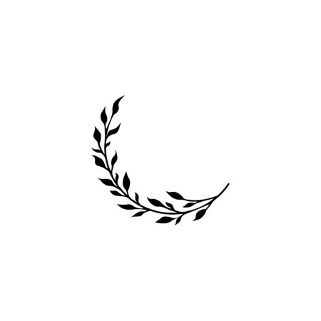 Vector template - twig with leaves. The idea of a tattoo, botany style. Beautiful sketch. Branch silhouette