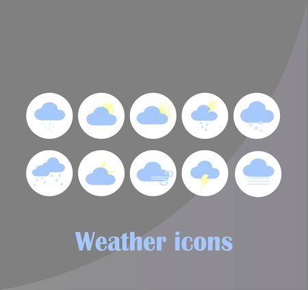 Vector weather icon set flat style. Cloud weather forecast icons flat design collection vector