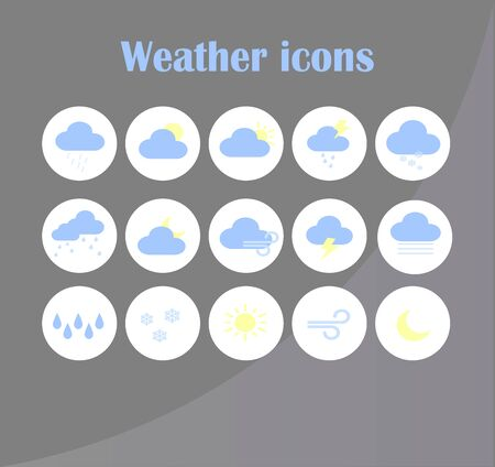 Collection of flat vector weather forecast icons for mobile app and website.