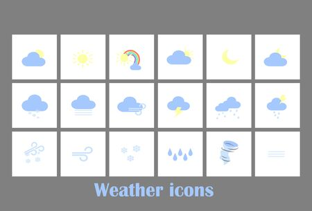 Weather forecast tablet mobile symbols widget icons set with clouds and rainbow . Big vector set flat design. Weather forecast for mobile app and website 向量圖像