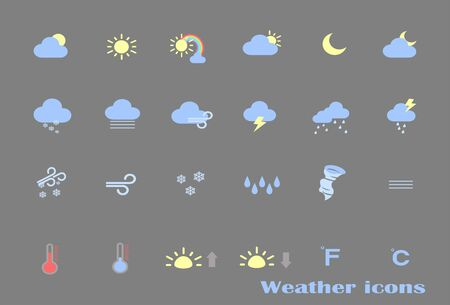 Large collection of weather forecast icons on gray background for application and website. Weather template app in simple style