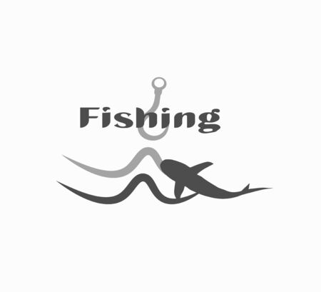 Flat design vector icon fishing closeup.