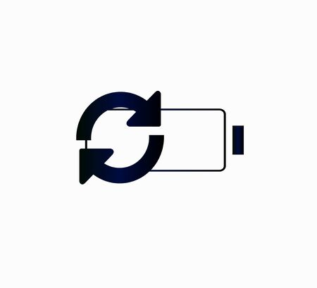 Saving electricity and preserving the environment - battery icon and arrows isolated. Illusztráció