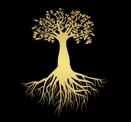 Vector mock up print design - peach gradient tree of life with bushy roots close-up Ilustracje wektorowe