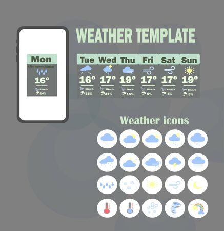 Weather template app. Vector template - weekly weather forecast for mobile application. Weather forecast flat icons collection.
