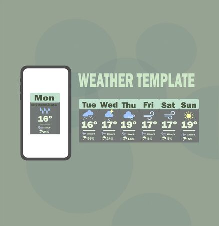 Weather template app. Vector template - weekly weather forecast for mobile application. 向量圖像