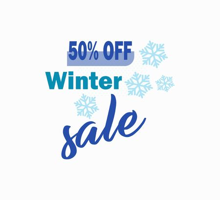 Stylish vector icon seasonal sale - winter discounts. Shopping day, online shopping, sale up to 50% off - visit the store