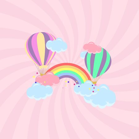 Baby card with balloons and a rainbow with clouds.