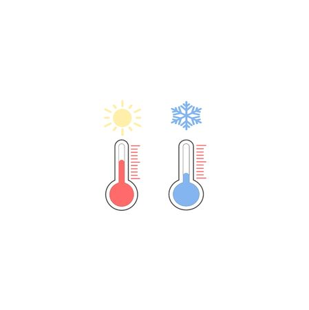 Hot, cold temperature icon. Vector illustration, flat design. Vector set weather forecast icons.