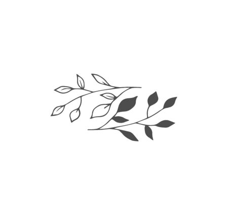 Stylish idea for a pair of tattoos - minimalism style. Two branches with leaves, branch silhouette - creative sketch of a tattoo