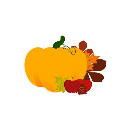 Flat design vector icon - harvest. Ripe pumpkin and juicy raccine apple with autumn leaves. Thanksgiving Day Idea Vector Illustration
