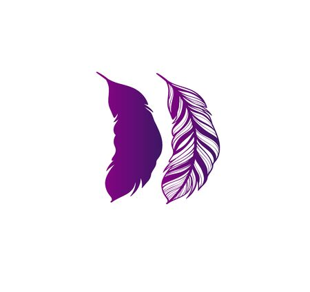 Vector illustration of two feather silhouettes - magenta, purple gradient design. Stylish tattoo idea