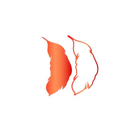 Vector illustration of two feather silhouettes - red gradient design. Stylish tattoo idea