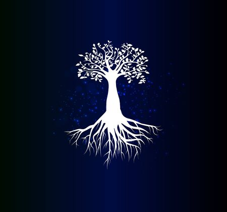 Beautiful poster with a white silhouette of the tree of life on a blue gradient background. A symbol of family values.