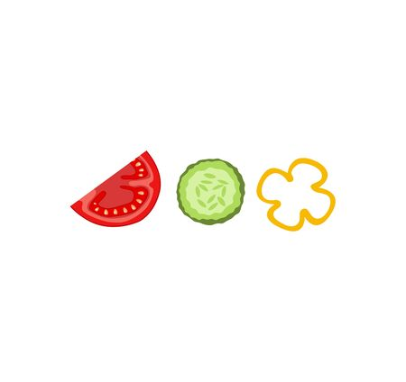 A slice of fresh and ripe tomato and a slice of cucumber with sweet pepper. Set of flat vector vegetables icons. Vegetable Salad Recipe. Healthy Eating and Detox