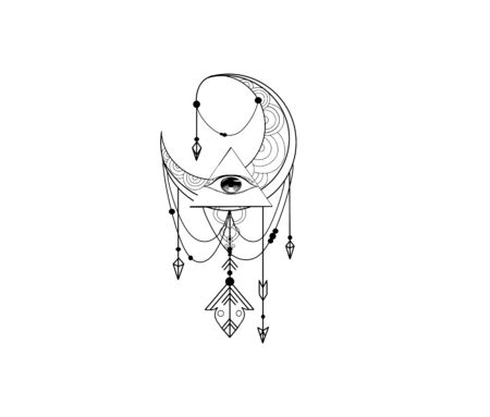 Vector sketch of a tattoo with an all-seeing eye and a decorative pattern and the moon