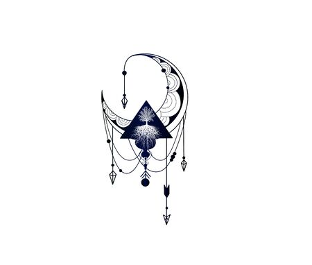 Stylish free hand tattoo sketch - decorative mandala ornament with moon and tree of life. Detailed vector illustration with arrows and doodle style. Tree of Life Mascot 向量圖像