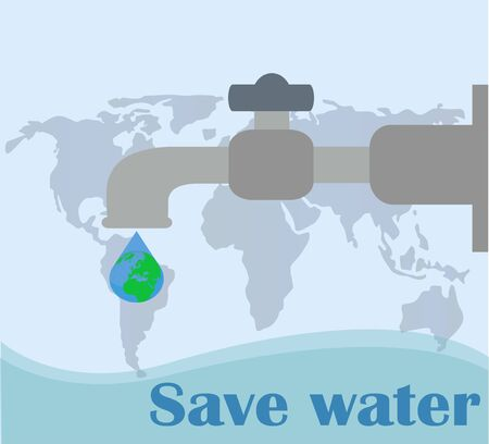 Water tap with water drops flat vector illustration. World Water Day save the planet - vector poster Water drop with an earth globe - vector icon