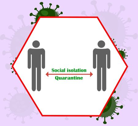 Social isolation and quarantine during the coronavirus pandemic - vector illustration