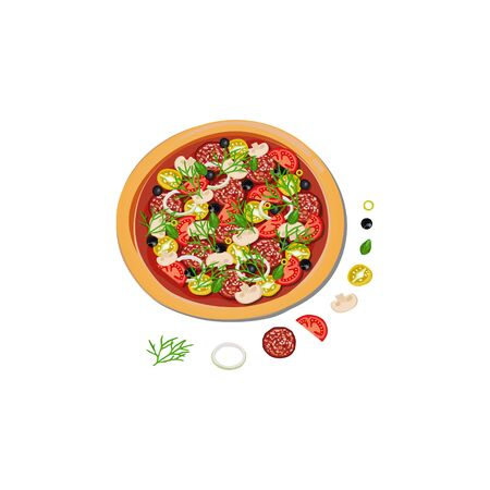 Delicious round italian pizza and ingredients to it.