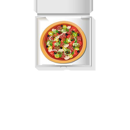 Tasty pizza in a white cardboard box