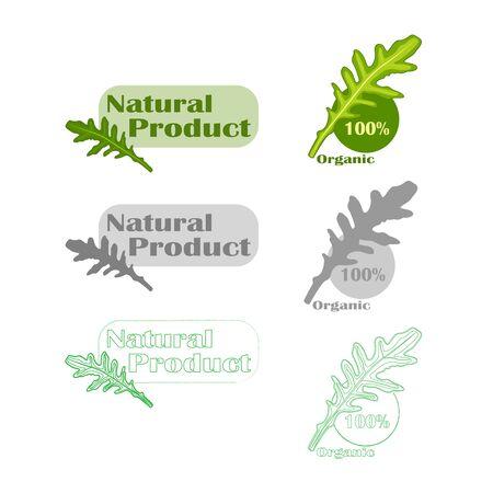 Natural vegan food product design set isolated 向量圖像