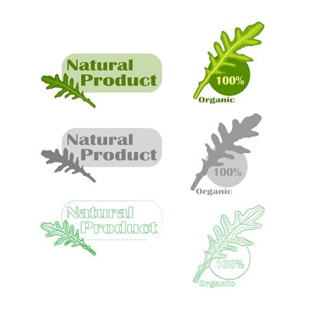 Natural vegan food product design set isolated Illustration