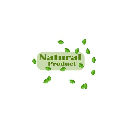 Stylish vector sticker natural product with mint leaves flat design